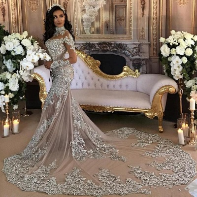 Luxury wedding dresses with sleeves mermaid wedding gowns at low prices online_3
