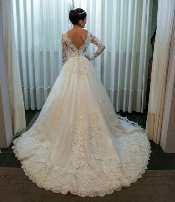 New white wedding dresses lace with sleeves a line bridal gowns cheap_3