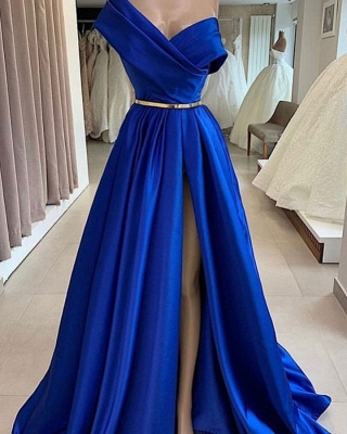 Fashion Evening Dresses Long Royal Blue | Simple evening wear online_2