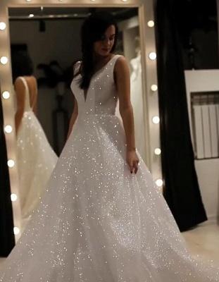 Elegante Abendkleider Lang Weiß Günstig | Abendkleid mit Glitzer_1