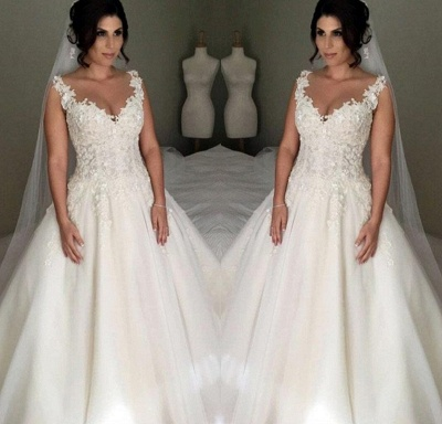 Elegant wedding dresses a line with lace tulle wedding gowns for wedding_2
