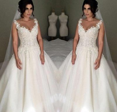 Elegante Brautkleider A Linie Mit Spitze Tülle Hochzeitskleider Zur Hochzeit_2