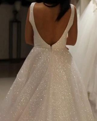 Elegante Abendkleider Lang Weiß Günstig | Abendkleid mit Glitzer_4