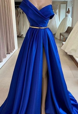 Fashion Evening Dresses Long Royal Blue | Simple evening wear online_1
