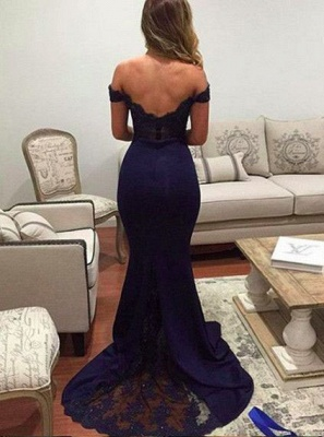 Cheap Evening Dresses Long With Lace Off Shoulder Mermaid Chiffon Prom Dresses_2