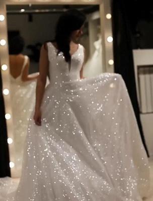 Elegante Abendkleider Lang Weiß Günstig | Abendkleid mit Glitzer_5