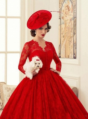 Red Wedding Dresses Long Sleeves Lace Princess Bridal Wedding Dresses Cheap_4