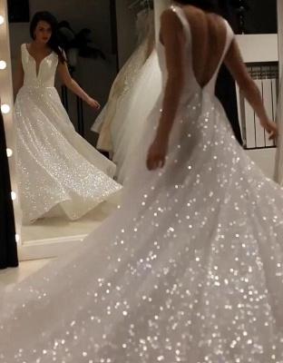Elegante Abendkleider Lang Weiß Günstig | Abendkleid mit Glitzer_2