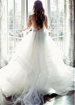 Modern wedding dress A line | Lace wedding dress with sleeves_3