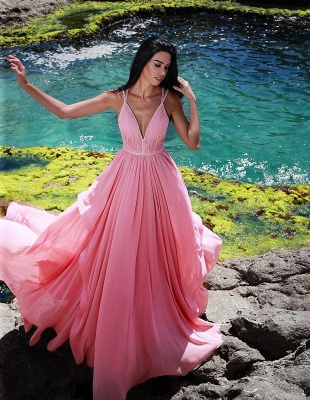 Elegant evening dress long pink cheap chiffon evening wear online_1