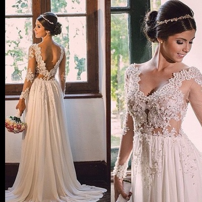 Long Sleeve Wedding Dresses With Lace Chiffon V Neck Wedding Gowns Bridal_2