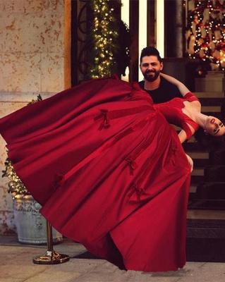Prinzessin Rot Abendkleider Lang Günstig Schulterfrei Abiballkleider Abendmoden_2