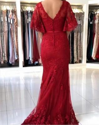 Elegante Abendkleider Lang Rot | Abendmoden Spitze mit Ärmel_3