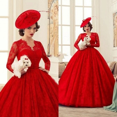 Red Wedding Dresses Long Sleeves Lace Princess Bridal Wedding Dresses Cheap_2