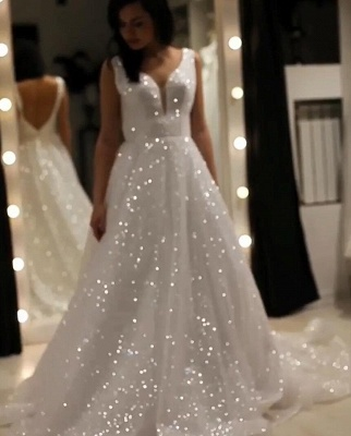 Elegante Abendkleider Lang Weiß Günstig | Abendkleid mit Glitzer_3