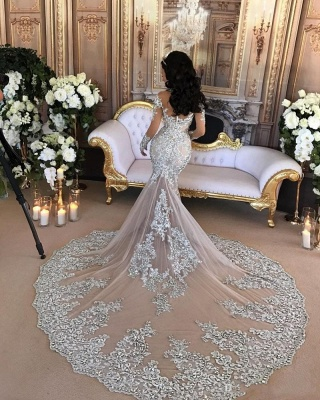 Luxury wedding dresses with sleeves mermaid wedding gowns at low prices online_2