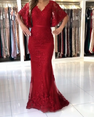 Elegant evening dresses long red | Evening wear lace with sleeves_1