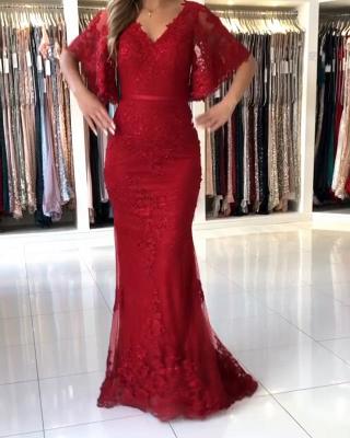 Elegante Abendkleider Lang Rot | Abendmoden Spitze mit Ärmel_1