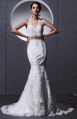 Elegante Weiß Brautkleider Spitze Neckholder Meerjungfrau Brautmoden Hochzeitskleider_1