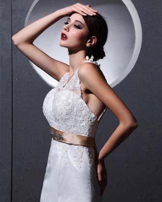 Elegante Weiß Brautkleider Spitze Neckholder Meerjungfrau Brautmoden Hochzeitskleider_3