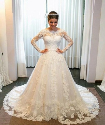 New white wedding dresses lace with sleeves a line bridal gowns cheap_1