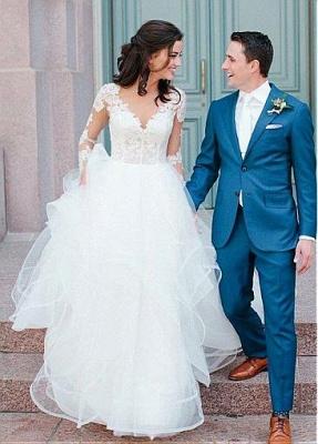 Modern wedding dress A line | Lace wedding dress with sleeves_2