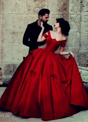 Prinzessin Rot Abendkleider Lang Günstig Schulterfrei Abiballkleider Abendmoden_1