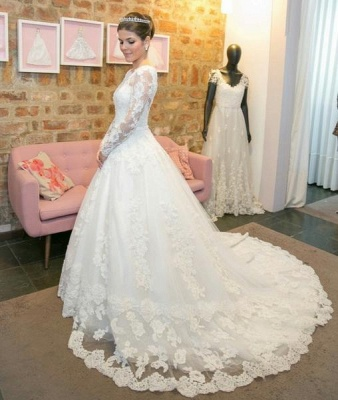 New white wedding dresses lace with sleeves a line bridal gowns cheap_2