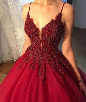 Red dresses evening wear lace long cheap prom dresses online_3