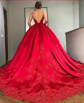 Fashion Abendkleider Lang Rot Prinzessin Abiballkleider Mit Spitze_2