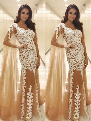 Champagne prom dresses cheap lace evening dresses prom dresses online_2