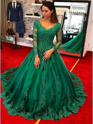 Green Evening Dresses Long With Sleeves Lace A Line Evening Wear Prom Dresses Cheap Online_1