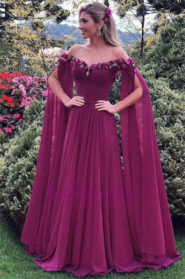 Fashion Fuchsia Chiffon Evening Dresses Long Cheap Sheath Dress Prom Dresses_1