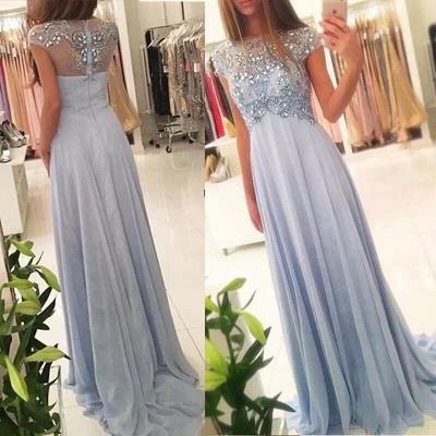 Blau Abendkleider Lang Günstig Nachmäßig Perlen Chiffon Bodenlang Abendmoden_2