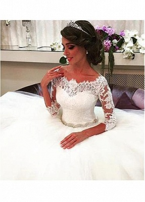 Designer wedding dress with sleeves | Lace wedding dresses A line_3