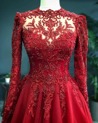Luxury Red Evening Dresses With Sleeves | Evening wear with lace_2