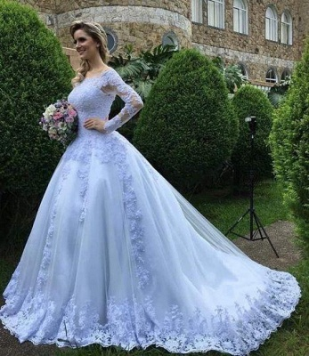 Formal White Wedding Dresses With Sleeves A Line Wedding Dresses Lace_1