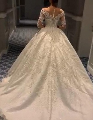 White Wedding Dresses Cheap Princess With Lace Tulle Bridal Wedding Dresses_2