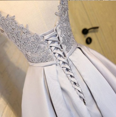 Silver Short Cocktail Dresses Lace Taffeta A Line Prom Dresses Evening Wear_3