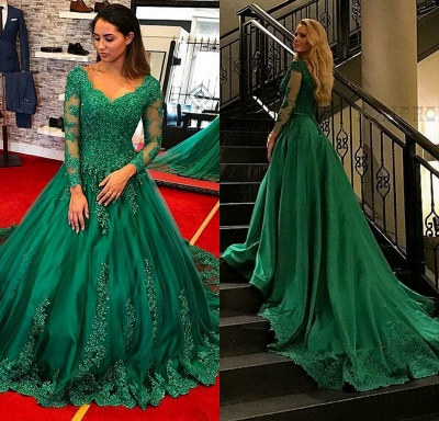 Green Evening Dresses Long With Sleeves Lace A Line Evening Wear Prom Dresses Cheap Online_3