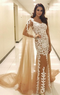Champagne prom dresses cheap lace evening dresses prom dresses online_1