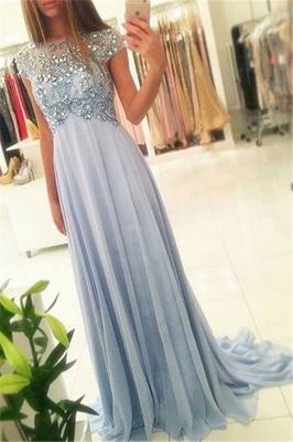 Blau Abendkleider Lang Günstig Nachmäßig Perlen Chiffon Bodenlang Abendmoden_1