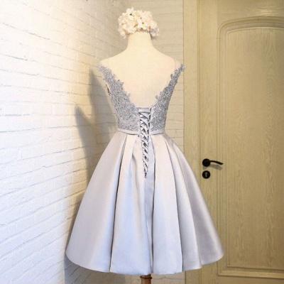 Silver Short Cocktail Dresses Lace Taffeta A Line Prom Dresses Evening Wear_2