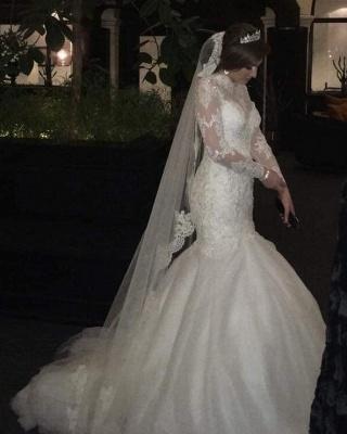 Hochzeitskleider Spitze und Schlicht | Brautkleider Meerjungfrau mit Ärmel_1