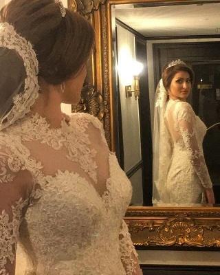 Hochzeitskleider Spitze und Schlicht | Brautkleider Meerjungfrau mit Ärmel_2
