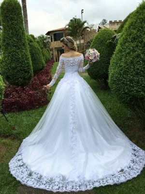 Formal White Wedding Dresses With Sleeves A Line Wedding Dresses Lace_2