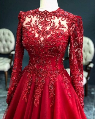 Luxury Red Evening Dresses With Sleeves | Evening wear with lace_3