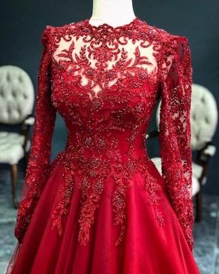 Luxus Rote Abendkleider Mit Ärmel | Abendmoden Mit Spitze_3