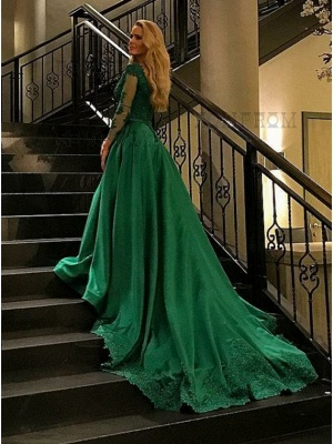 Green Evening Dresses Long With Sleeves Lace A Line Evening Wear Prom Dresses Cheap Online_2