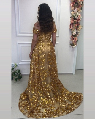 Gold evening dresses luxury | Long glitter prom dresses online_3